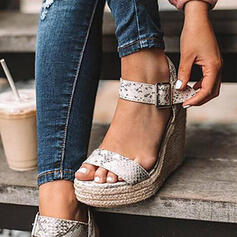 Frauen PU Keil Absatz Sandalen Absatzschuhe Peep Toe mit Schnalle Schuhe