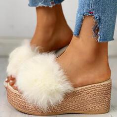 Frauen Kunstpelz Keil Absatz Keile Peep Toe Pantoffel mit Pelz Schuhe