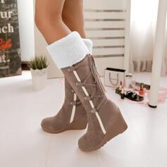 Frauen PU Keil Absatz Stiefel-Wadenlang Schneestiefel mit Zuschnüren Schuhe