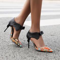 Frauen PU Stöckel Absatz Absatzschuhe Heels Spitze mit Bowknot Schuhe