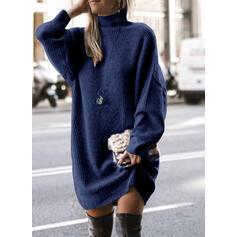 Einfarbig Grobstrick Rollkragen Freizeit Lang Pulloverkleid