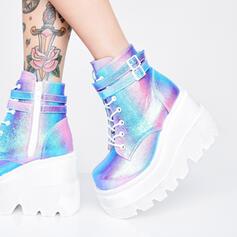 Frauen PU Keil Absatz Geschlossene Zehe Stiefel Martin Stiefel Round Toe mit Schnalle Zuschnüren Schuhe