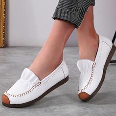 Frauen PU Flascher Absatz Flache Schuhe Low Top Round Toe mit Geraffte Spleißfarbe Schuhe