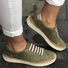 Frauen PU Flascher Absatz Flache Schuhe Round Toe Schlüpfen mit Patchwork Spleißfarbe Schuhe