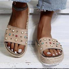 Frauen PU Flascher Absatz Sandalen Flache Schuhe Plateauschuh Peep Toe Pantoffel mit Perlstickerei Einfarbig Schuhe