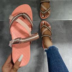 Frauen Leinwand Flascher Absatz Sandalen Flache Schuhe Peep Toe Pantoffel mit Hohl-out Kreuz und quer Schuhe