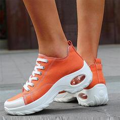 Frauen Leinwand Lässige Kleidung Sportlich Wandern mit Zuschnüren Schuhe