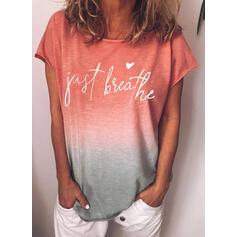 Figur Gradient Herz Druck Rundhalsausschnitt Kurze Ärmel T-Shirts