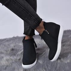 Frauen Kunstleder Flascher Absatz Stiefelette mit Reißverschluss Schuhe