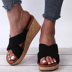 Frauen PU Keil Absatz Sandalen Plateauschuh Keile Peep Toe Pantoffel mit Hohl-out Kreuz und quer Schuhe
