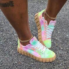 Frauen Leinwand Flascher Absatz Flache Schuhe Round Toe Tanzschuhe Färbbare Schuhe mit Zuschnüren Schuhe