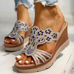 Frauen PU Keil Absatz Sandalen Keile Peep Toe Pantoffel mit Strass Schuhe