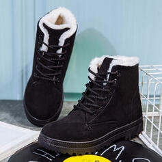 Women's Suede Flat Heel Flats Snow Boots Round Toe Winter Boots With Lace-up shoes