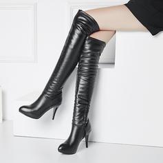 Frauen PU Stöckel Absatz Absatzschuhe Plateauschuh Stiefel über Knie mit Reißverschluss Schuhe