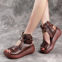 Frauen Echtleder Keil Absatz Sandalen Plateauschuh Keile Peep Toe Heels mit Reißverschluss Hohl-out Schuhe
