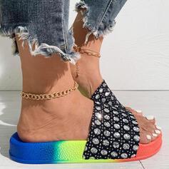 Women's PU Flat Heel Sandals Peep Toe Slippers With Rhinestone Splice Color shoes