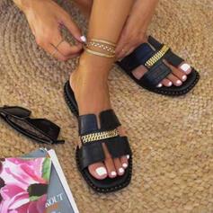 Frauen PU Flascher Absatz Sandalen Flache Schuhe Peep Toe Pantoffel mit Kette Hohl-out Schuhe