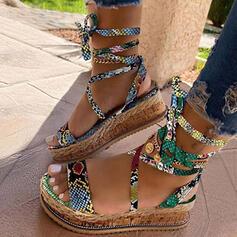 Frauen Kunstleder Keil Absatz Sandalen Keile Peep Toe Heels mit Zuschnüren Schuhe