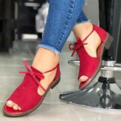 Frauen Kunstleder Flascher Absatz Round Toe mit Zuschnüren Einfarbig Schuhe