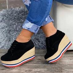 Frauen Veloursleder Andere Flache Schuhe Round Toe mit Zuschnüren Einfarbig Schuhe