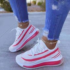 Frauen Fliegende Webart Flascher Absatz Flache Schuhe Tanzschuhe mit Zuschnüren Streifen Schuhe