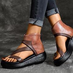 Frauen PU Flascher Absatz Sandalen Keile Peep Toe Heels mit Reißverschluss Schuhe