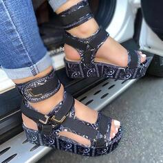 Frauen PU Keil Absatz Sandalen Plateauschuh Keile Peep Toe Heels mit Schnalle Hohl-out Klettverschluss Schuhe