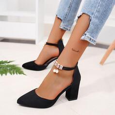 Frauen PU Stämmiger Absatz Absatzschuhe mit Nachahmungen von Perlen Reißverschluss Schuhe
