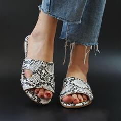 Frauen PU Flascher Absatz Sandalen Peep Toe Pantoffel mit Tierdruckmuster Hohl-out Schuhe