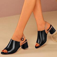 Frauen PU Stämmiger Absatz Peep Toe Stiefelette mit Schnalle Spleißfarbe Schuhe