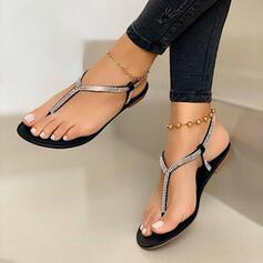 Frauen PU Flascher Absatz Sandalen Flache Schuhe Peep Toe mit Kristall Schuhe