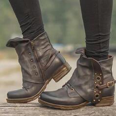 Frauen PU Stämmiger Absatz Stiefelette Round Toe mit Niete Schnalle Einfarbig Schuhe