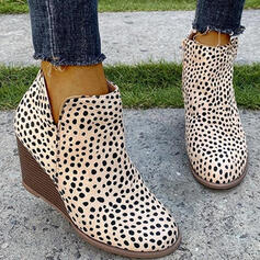 Women's PU Wedge Heel Boots Ankle Boots Low Top Round Toe With Animal Print Zipper shoes