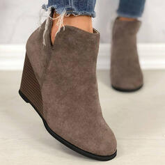 Women's PU Wedge Heel Wedges Round Toe Chelsea Boots With Solid Color shoes