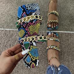 Frauen PU Flascher Absatz Sandalen Flache Schuhe Peep Toe Pantoffel mit Kette Hohl-out Spleißfarbe Schuhe