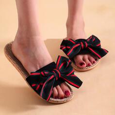 Frauen Stoff Flascher Absatz Sandalen Flache Schuhe Peep Toe Pantoffel mit Bowknot Spleißfarbe Schuhe