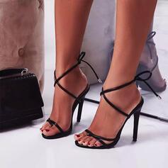 Frauen PU Stöckel Absatz Absatzschuhe Peep Toe Heels mit Zuschnüren Hohl-out Schuhe
