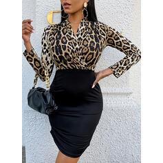 Druck/Leopard Lange Ärmel Figurbetont Über dem Knie Elegant Kleider