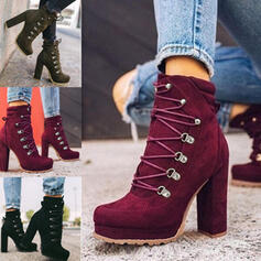 Frauen Veloursleder Stämmiger Absatz Stiefelette Martin Stiefel Round Toe mit Zuschnüren Einfarbig Schuhe