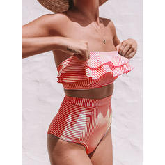 Couleur Unie Bandeau Taille Haute Sans Bretelle Sexy Bikinis Maillots De Bain