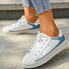 Women's Microfiber Flat Heel Flats Low Top Round Toe Sneakers With Lace-up Print shoes