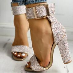 Frauen Kunstleder Stämmiger Absatz Sandalen Absatzschuhe Peep Toe Heels mit Pailletten Funkelnde Glitzer Schnalle Schuhe
