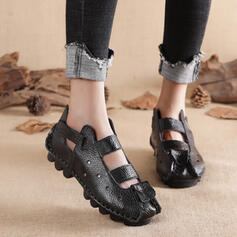 Women's PU Flat Heel Flats Closed Toe Low Top With Velcro shoes
