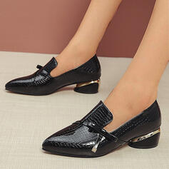 Women's PU Chunky Heel Pumps Closed Toe Pointed Toe With Solid Color shoes