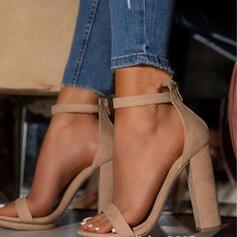 Frauen PU Stämmiger Absatz Absatzschuhe Peep Toe mit Schnalle Hohl-out Schuhe