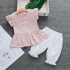 2 Stücke Baby Mädchen Rüschen Kariert Baumwolle Stellen Sie Größe