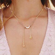 Einfache Stern Mond Legierung Frauen Halsketten