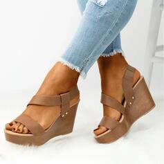 Frauen PU Keil Absatz Plateauschuh Keile Peep Toe mit Einfarbig Schuhe