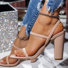 Frauen Nylon Stämmiger Absatz Sandalen Heels mit Gummiband Schuhe