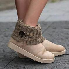 Frauen Veloursleder Flascher Absatz Stiefelette Round Toe Schlüpfen Schneestiefel mit Schnalle Spleißfarbe Schuhe